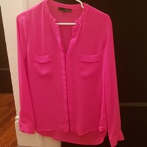 Ro & Dee Bright Pink Long Sleeve Top Small